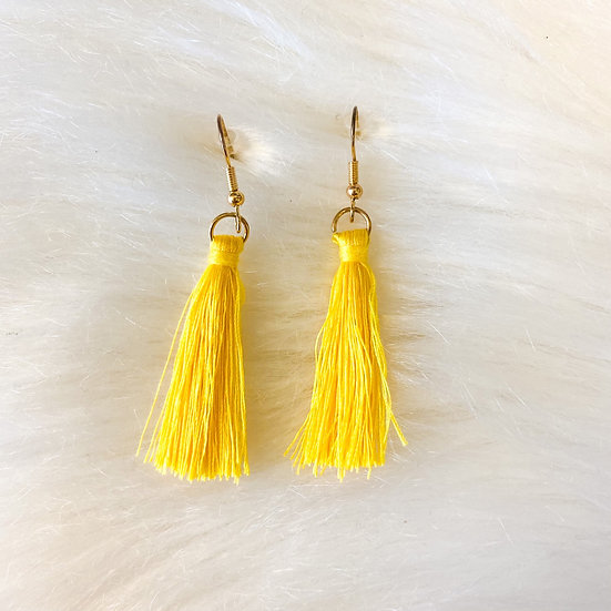 Lightweight yellow tassel earring