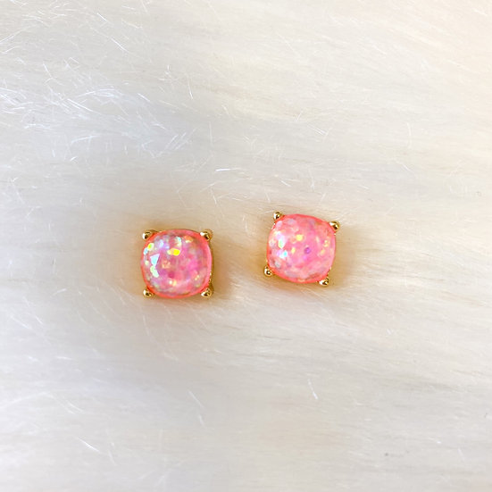 Iridescent pink glitter cushion cut studs