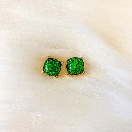 Emerald glitter cushion cut studs