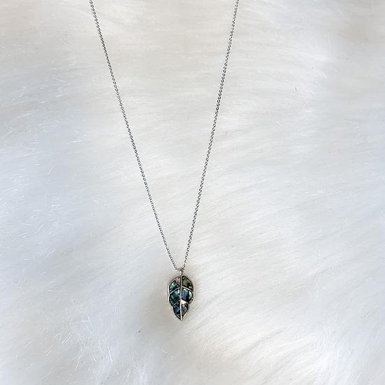 Dainty abalone leaf necklace