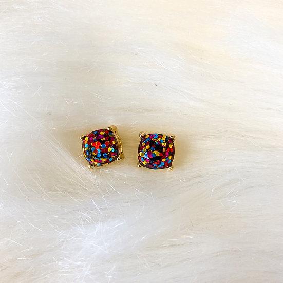 Multicolored glitter cushion cut studs