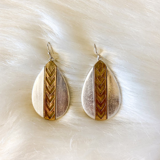 Silver and gold Aztec detail drop earrings