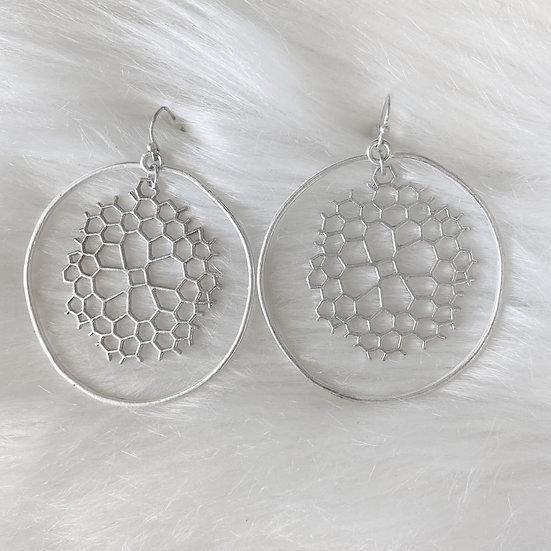 Honeycomb detail silver earrings