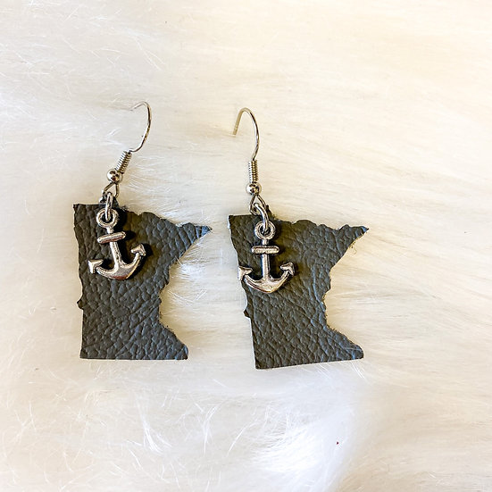 Grey leather anchor detail MN earring