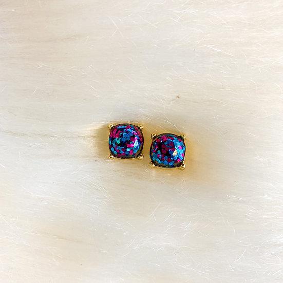 Sapphire and magenta glitter cushion cut studs