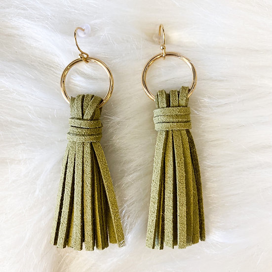 Sage green multiple strand leather earrings