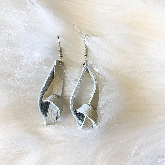 Grey knot genuine leather earrings