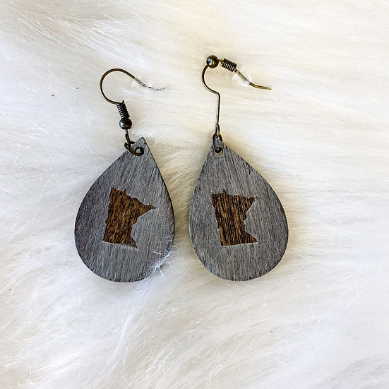 Grey washed MN detail wooden drop earring