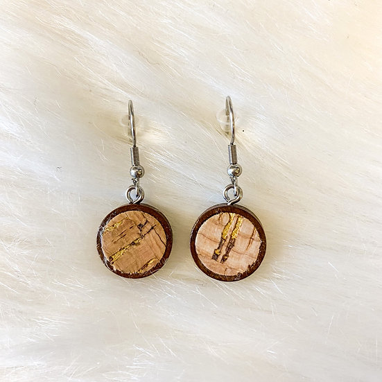 Dainty wood and cork drop earrings with gold detail