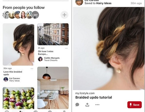 Pinterest Launches Instagram-Style Single Pin Feed in 'Following' Tab