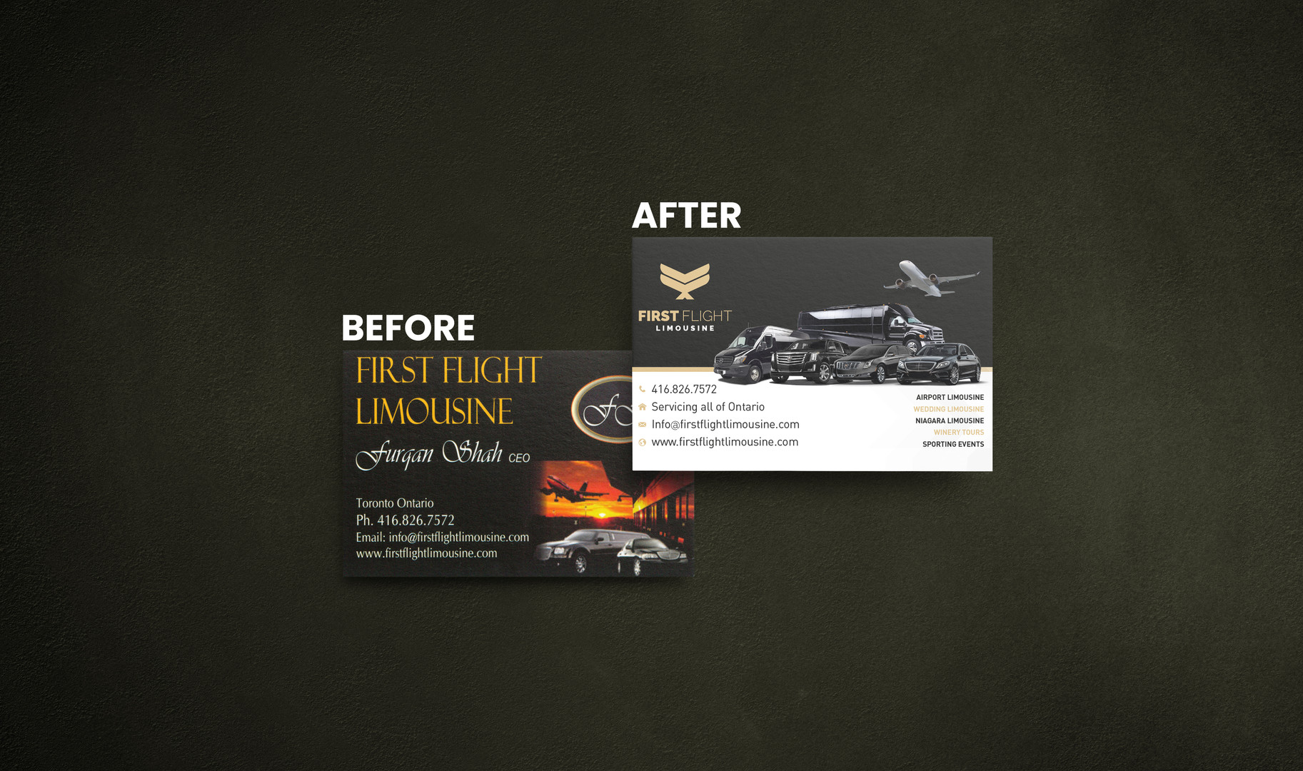 Before & After of the First Flight Limousines Business Card