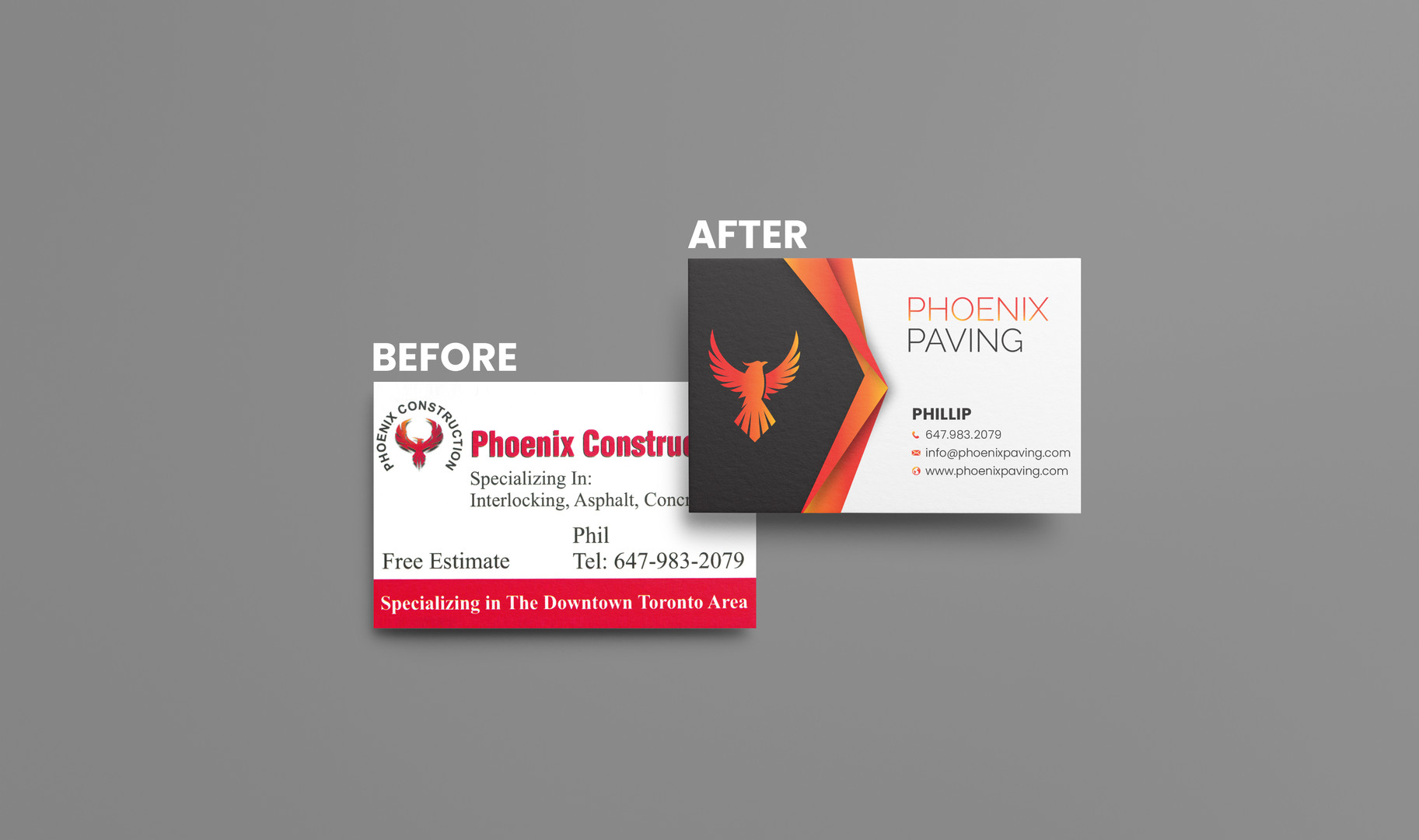 Before & After of Phoenix Paving's Rebrand