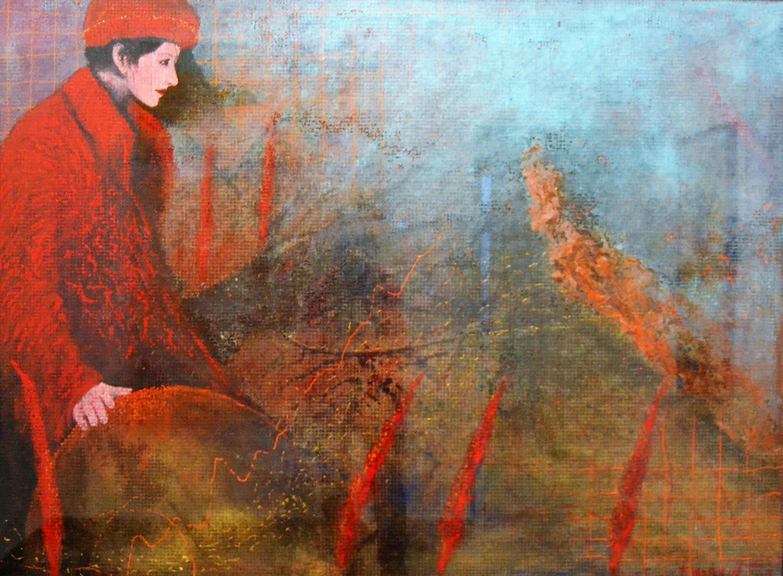 Chica con abrigo rojo 169x128