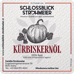 Etikett_9x9cm_Kürbiskernöl_Strohmeier_