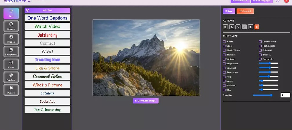 image editor of go traffic (a new premium feature)