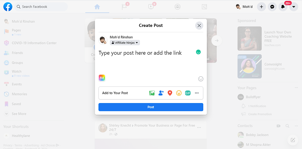 how to create a post in facebook to get website traffic
