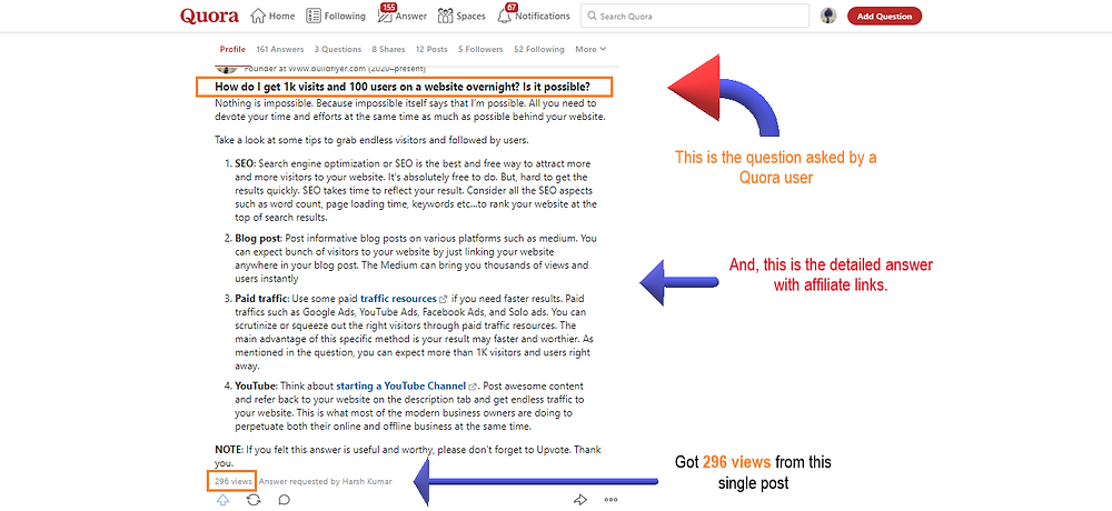 free traffic from quora for affiliate marketing