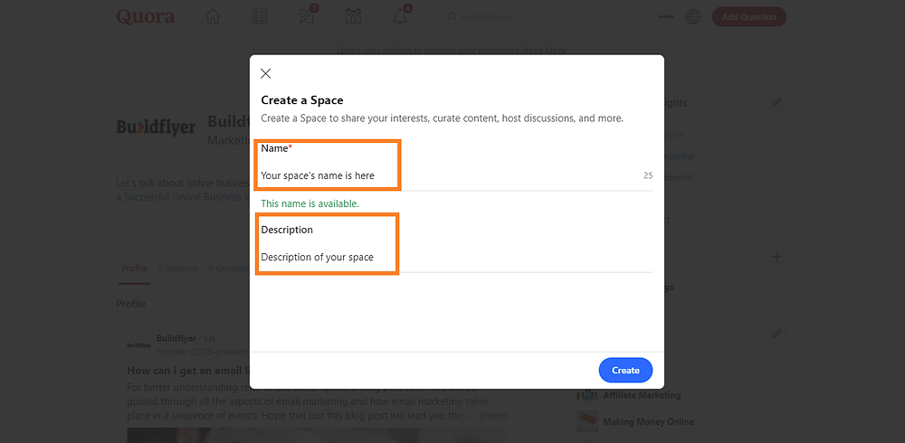 method #2-create a space in quora to get website traffic for free