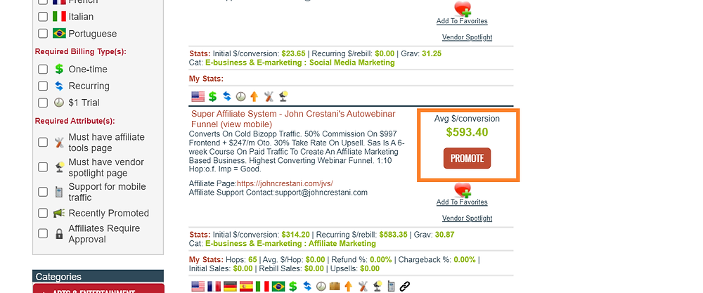 high paying commissions of affiliate marketing