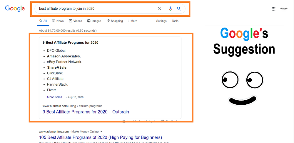 Google suggestion of affiliate marketing business in 2020