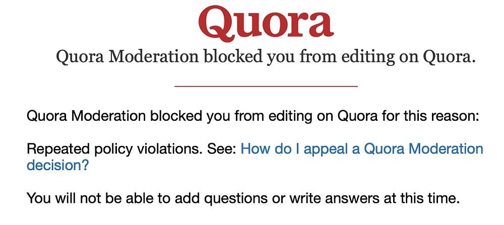 Quora moderation