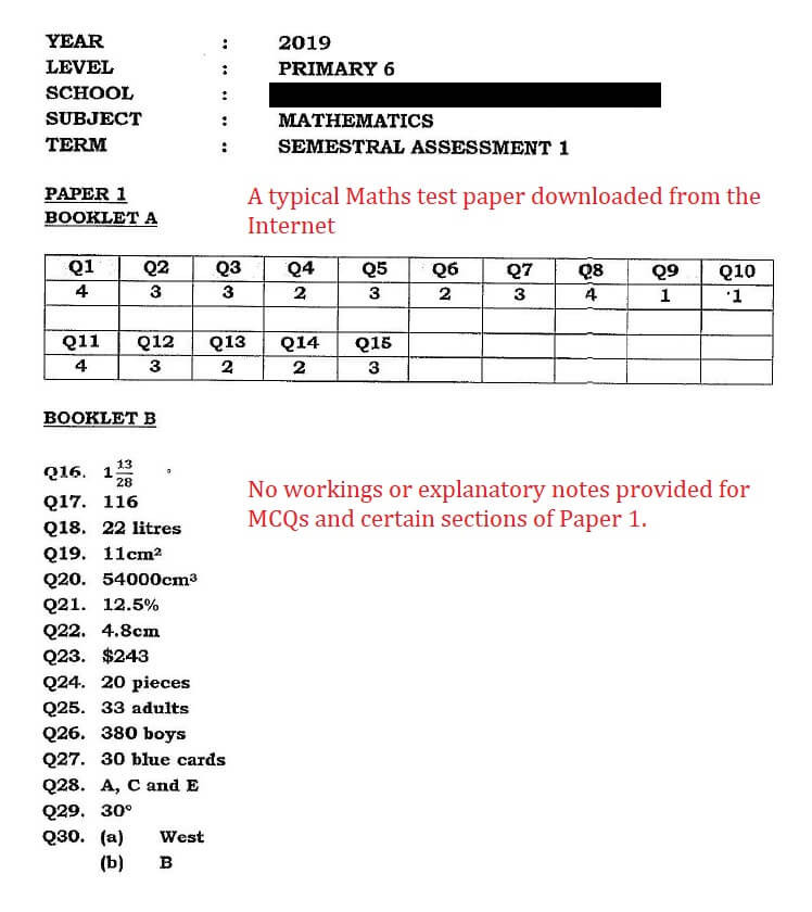 Free Test Papers With No Explanations Given