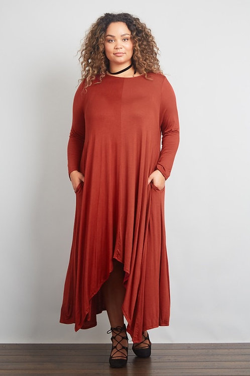 The Be Free Dress in Rust