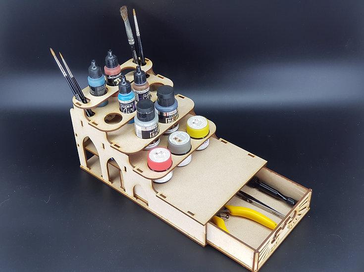 Imperial Paint Rack Mini - 10-14 pots + Drawer (GW, PP, Vallejo, S75 etc)