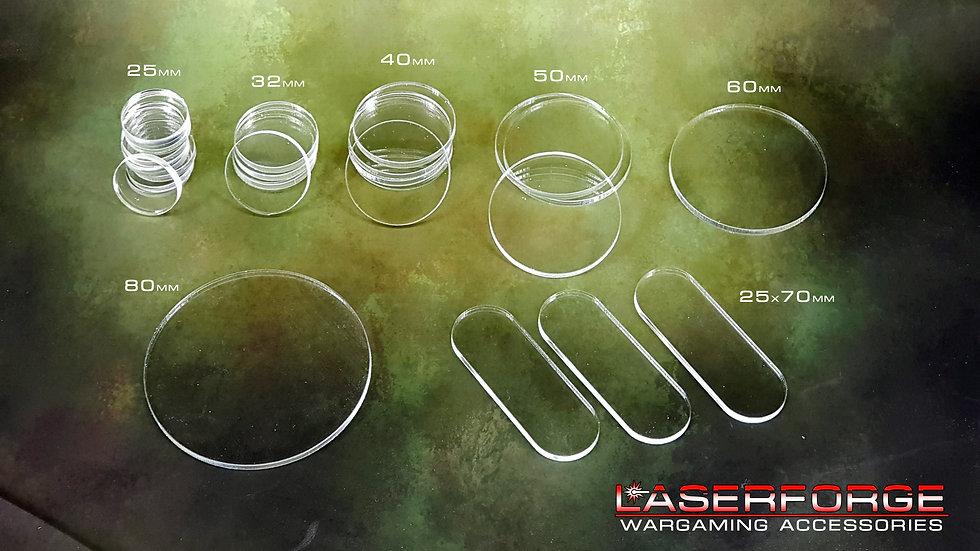 Clear Bases - 20-80mm - 40k, Warmachine, Malifaux, Infinity, etc.