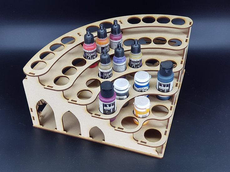 Imperial Paint Rack Corner - 27-36 pots (GW, PP, Vallejo, S75 etc)