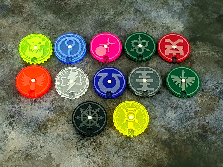 SM CHAPTERS Wound Dials / Counters (10) - compatible with Warhammer 40k / Ki