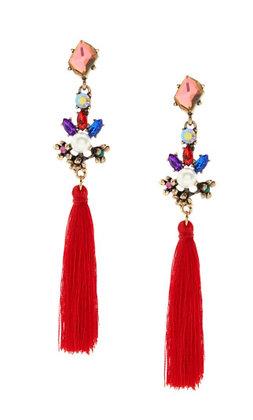 Bejeweled Red Tassel Earrings
