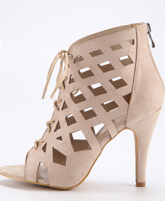 Caged Lace Up Peep Toe Booties
