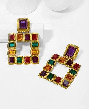 Color block Square Earrings
