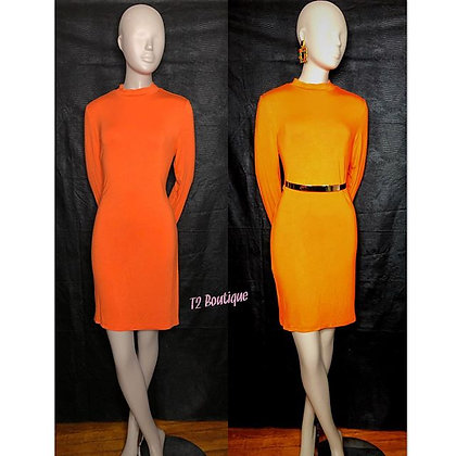 Orange Mock Neck Body Dress