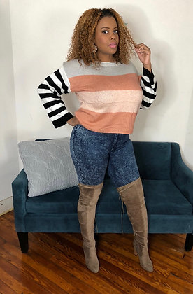 Color Block Striped Sleeve Sweater