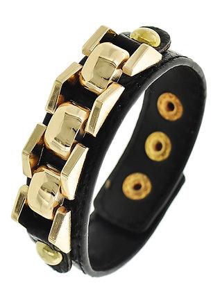 Black Leatherette Chain Bracelet