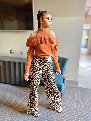 Leopard Print High Waist Pants w/belt