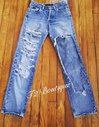 Open Leg Distressed Jeans