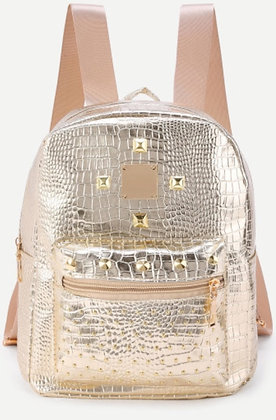 Gold Crocodile Print Mini Backpack