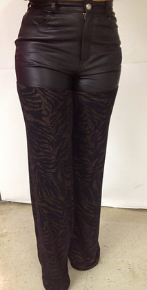 Leather-Top Pants with Zebra Print Legs