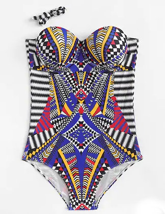 Tribal Print Bandeau One Piece