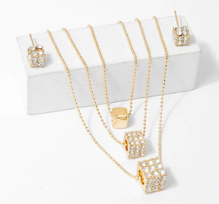Tri Layer Necklace & Earring Set