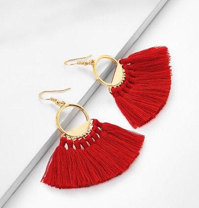 Fan Shaped Tassel Earrings