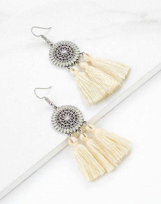Circle Pendant Tassel Earrings