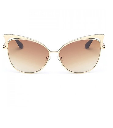 Tan Cateye Shades with Gold Frame
