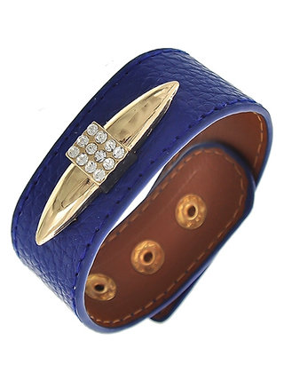 Blue Leatherette Bracelet