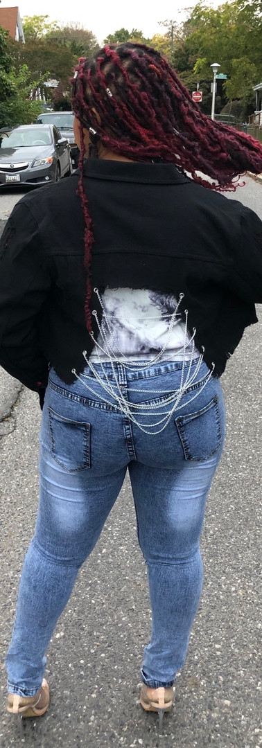 chained up denim jacket