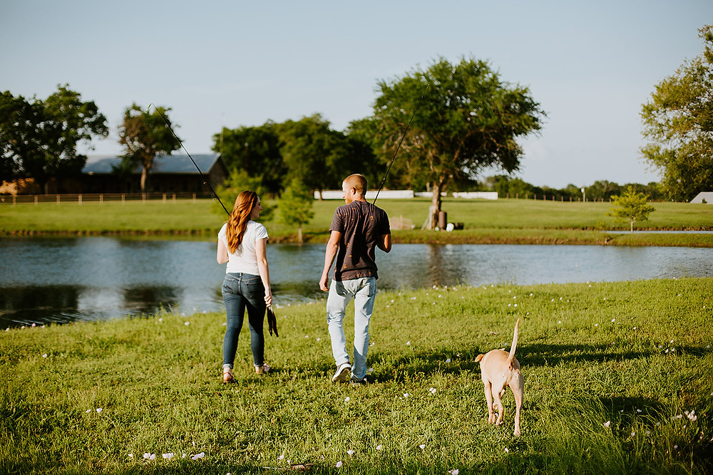 whispering waters ranch, Leonard Texas, north Texas wedding photographer, fishing, couples fishing