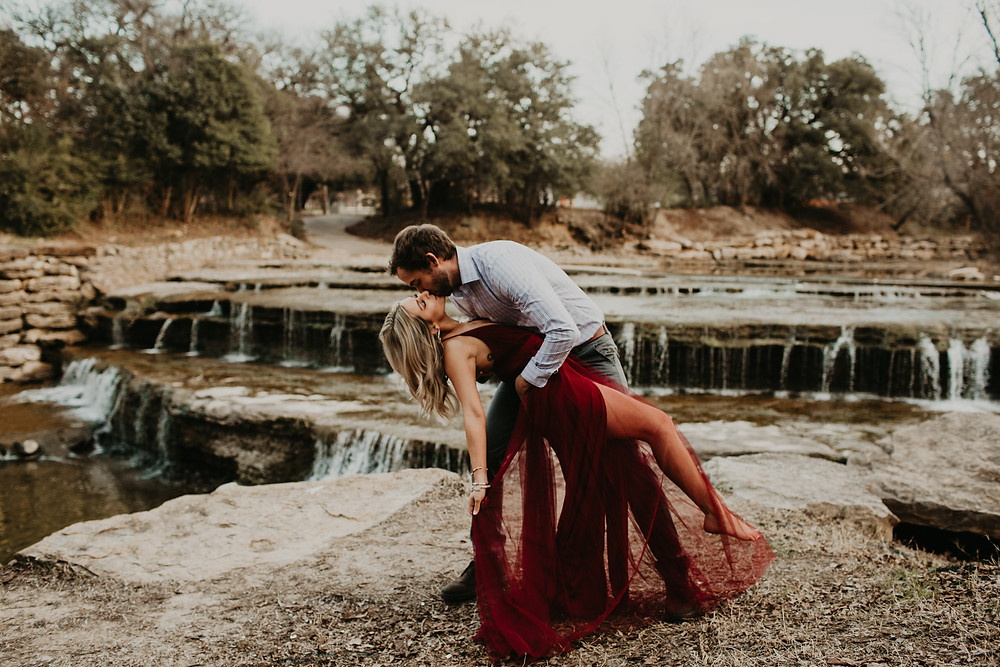 north Texas photographer, Airfield falls, red dress, Fort Worth Texas